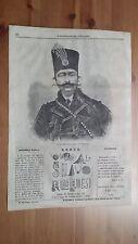 1873 Illustrazione Popolare: Ritratto Nasser al-Din Shah Qajar Scià di Persia