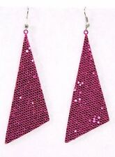 "Dangle Drop Earrings Glitter Triangle Big 2.5"" Pink Holiday Sparkle Cheer Dance"