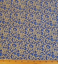 Arabella Vine Scroll Fabric By Yard 100% Cotton Benartex Yellow on Blue