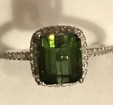 1.89Ct  Natural Mint Green tourmaline Diamonds halo October birthstone 10k Ring