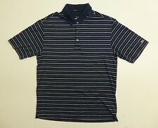 Tiger Woods Collection Mens M Blue & White Striped Nike Dry Fit Polo Shirt EUC