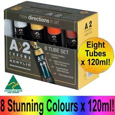 CHROMACRYL A2 Acrylic Paint Tubes 8 x 120ml Boxed Set Painting Artists Art Pack