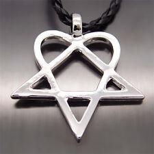 "Men Women Heartagram Star Heart HIM Pewter Pendant with 20"" Choker Necklace"