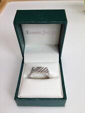 ERNEST JONES Men's 9 Carat White Gold Ring + Diamond, Millennial Hallmark