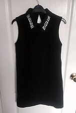 ASOS Black Sleeveless Shift Dress With Embellished Collar LBD Size 8 New NWT 60s