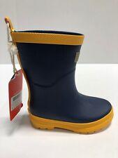 Hatley Classic Kids Rain Boots Navy Blue/Yellow Matte Rubber, Toddler Size 9M
