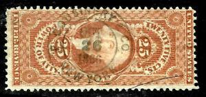"""F Cousinery & Co OCT 26 1866"" Proprietary Date Cancel 25 Cent Revenue US 16B23"