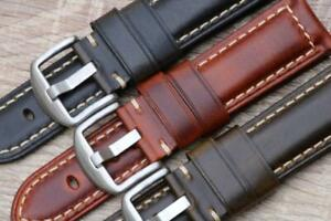 Watch Strap Genuine Calf Leather Vintage Oil Wax Durable Stitch Padded 18mm-26mm