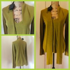 Massimo Dutti Olive Green Silk Blend Sweater Long Sleeve Size M 7f36144f44ca