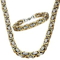 Men's 316L Stainless Steel Necklace Byzantine Box Chain Link Fashion Chunky Gift