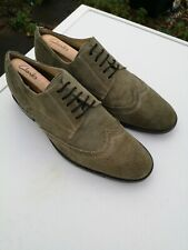 Men's DAVIS & SQUIRE 100% Suede Leather, Light Green Lace-up Brogues UK 10 (44)