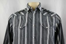 GUESS Western Pearl Snap Embroidered Men's Long Sleeve Casual Shirt Size L