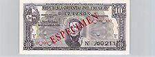 URUGUAY SPÉCIMEN 10 PESOS 2.1.1939 PICK 37 c S !!!!