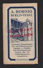 BERLIN-TEGEL, Werbung 1915, A. Borsig Dampfanlagen Eis-Kältemaschinen Pumpen