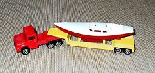 Majorette Magirus Truck with Flatbed Trailer and Boat, Made in France