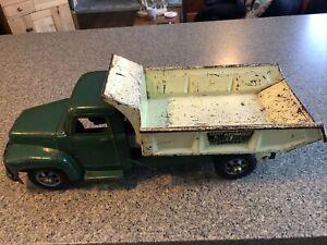 VTG Green Yellow Pressed Steel Buddy L Hydraulic Heavy Hauling Dumper Truck 1950