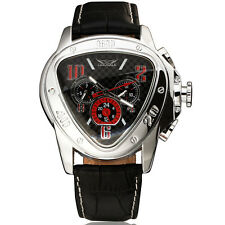 JARAGAR Herrenuhr TRIANGLE Black Leder Armband Uhr NEU automatisch-mech