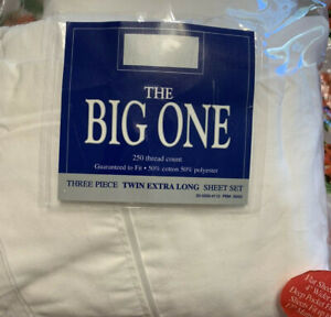 THE BIG ONE Three Piece TWIN Extra Long Sheet Set 250 Thread Count NEW