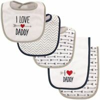 Luvable Friends Boy Bib and Burp Cloths, 5-Piece Set, Boys Love Daddy