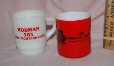 2 vtg Anchor Hocking Fire King Red Mugs Rodman IA Firefighters Bordulac ND Skool
