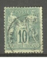 "FRANCE STAMP TIMBRE N° 76 "" SAGE 10c VERT TYPE II "" OBLITERE A VOIR"