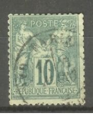 "FRANCE STAMP TIMBRE N° 76 "" SAGE 10c VERT TYPE II "" OBLITERE A VOIR"