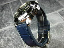 New BIG CROCO 22mm LEATHER STRAP Blue Band with Blue Stitch PAM 22
