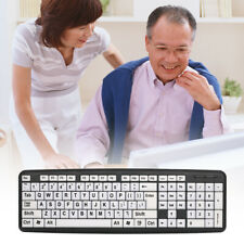 USB Wired keyboard Big Letter White Button Large Print 107 keys for Elderly D5S5