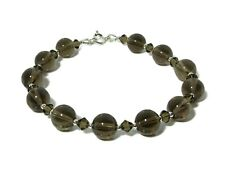 Brown Smokey Quartz & Swarovski Crystals Handmade Bracelet With Sterling Silver