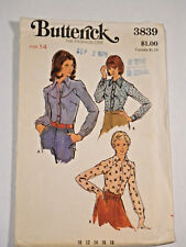 B-3839 Shirt Sewing Pattern Butterick Size 14 Cut & Complete