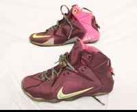 Nike Lebron James XII 12 Shoes Merlot Volt Sz 8.5 684593-607 DOUBLE HELIX