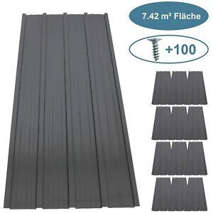 12x Profilblech Trapezblech Blech Metall Dachblech Stahlblech Dach Platten Grau