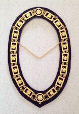Scottish Rite Chain Collar in Gold (Wings Up) - Purple Velvet Backing