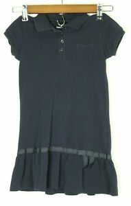 NAUTICA Girls' Short-Sleeve Polo Dress Navy Blue Size L (6)