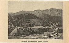 Stampa antica CUNEO viadotto ferrovia vallone Rivoira 1893 Old antique print