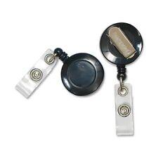 Sicurix Identification Badge Reels with Belt Clip, Black, Dozen