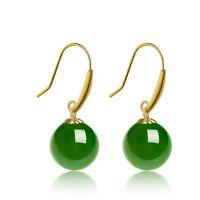 Best New Gift 18k Gold Jade Jasper Round Smooth Bead Hook Dangle Earrings 1.9-2g