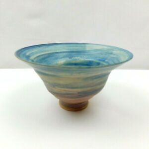 Art Pottery Flared Footed Bowl Vase Signed Matte Gloss Glaze Blue Swirl Colors