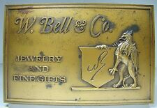 Old W Bell & Co Solid Brass Store Plaque Sign Jewelry and Fine Gifts Ornate