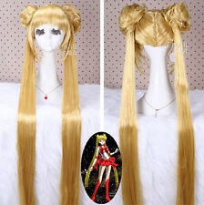 Sailor Moon Tsukino Usagi Golden Long Straight Hair Anime Party Cosplay Wigs
