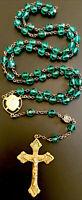 Vintage Catholic Hunter Green Glass  5 Decade Rosary, Gold Tone Crucifix