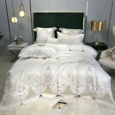 4pcs Bedding set Luxury Cotton satin lace Duvet cover Flat sheet 2 Pillow shames