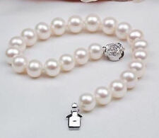 New Natural AAA 9-10mm White Akoya Pearl Bracelet 7.5""