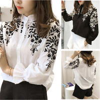 Women Embroidered Stand Collar Floral Loose Blouse Long Sleeve OL Work Shirt Top