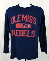 Ole Miss Rebels Mens sz Medium Blue Long Sleeve Thermal T Shirt NCAA Mississippi