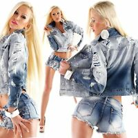 Women Denim Dip Dye Jacket Ladies Jeans Cropped Jacket Size 8 10 12 14 16 Coat S