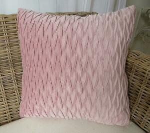 Pastel Pink Softest Velvet Ruched Bed Lounge Sofa Pillow Cushion Cover 45cm