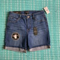Curve Appeal NWT Med/Dark Wash Denim Shorts Shaping System Stretch Size 6/28