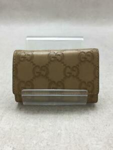 Gucci  Leather 138093 6 Consecutive Leather Gold Fashion Key case From Japan