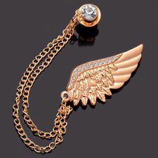 Fashion Unisex Angel Wing Cubic Zirconia Gold Plated Chain Pins Brooches Jewelry